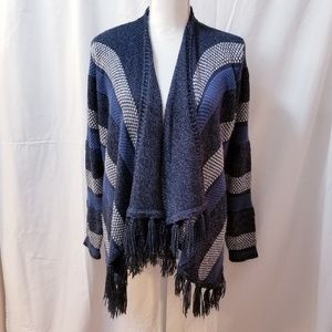 Style & Co Striped Fringed Open Front Cardigan